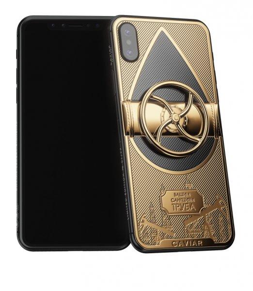 В России продают iPhone X с золотым вращающимся вентилем ко Дню Нефтяника.