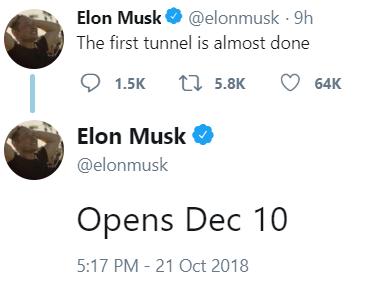 Илон Маск назвал дату запуска первого туннеля Hyperloop