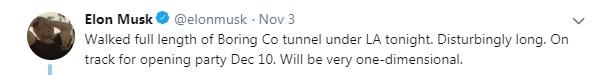 Маск похвастался роликом поездки по скоростному тоннелю под Лос-Анджелесом
