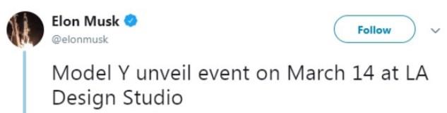 Маск озвучил дату презентации нового кроссовера Model Y