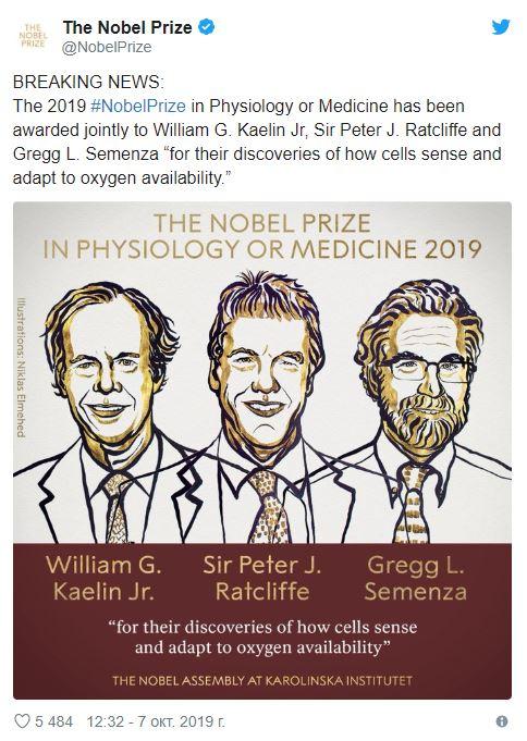 Вручена Нобелевская премия по медицине