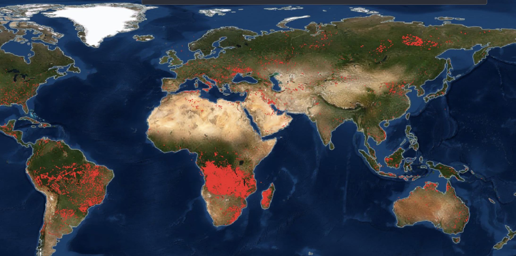 Горит вся планета: NASA поделились картой пожаров Земли